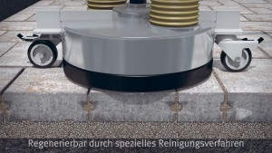 Regenerieren der Belagsfläche durch eine spezielle Spül-Saug-Einheit, die den Schmutz durch rotierende Bewegungen aufweicht und aufsaugt.
